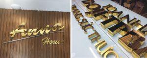 Chữ nổi Inox vàng gương gây ấn tượng mạnh với độ bóng cao, khả năng chịu lực