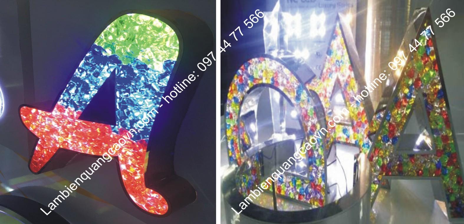 làm chữ nổi inox gắn hạt nhựa sáng led