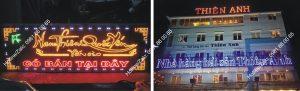 biển quảng cáo của hàng hản sản Led vẫy, chữ nổi cỡ lớn gắn Led