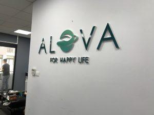 logo công ty Mica dán trực tiếp lên tường