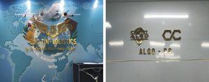 logo backdrop văn phòng chữ nổi Alu gương vàng