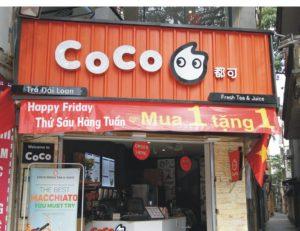 biển quảng cáo tiệm trà sữa nền nan tôn ấn tượng với màu sắc tươi mới trẻ trung