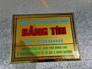 biển tên công ty Inox gương vàng