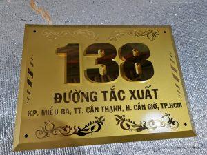 biển hiệu số nhà Inox gương vàng