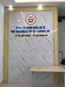 logo backdrop hiện đại với nội dung mica