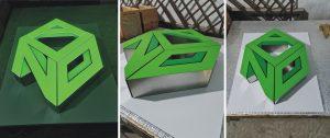 logo công ty mặt Mica chân Inox