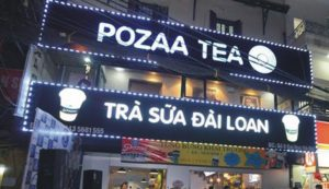 biển quảng cáo tiệm trà sữa chữ nổi Mica gắn