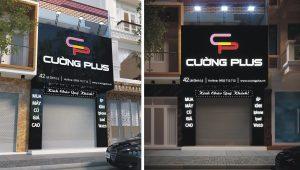 mẫu biển quảng cáo cửa hàng điện thoại Alu chữ nổi Mica