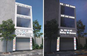 biển quảng cáo mẹ và bé ốp Alu chữ nổi Mica gắn LED