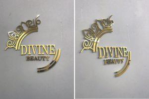 logo backdrop Alu gương vàng